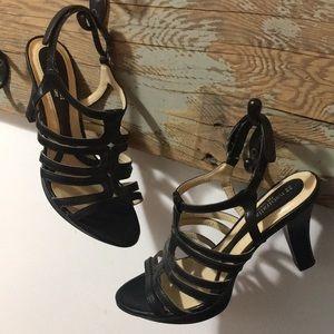 Naturalized N 5 comfort strappy black nude heels